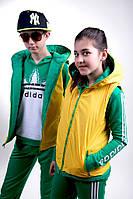 Жилетка двухсторонняя турецкая плащевка зелёный+жёлтый (девочка, мальчик). Арт-5478/44