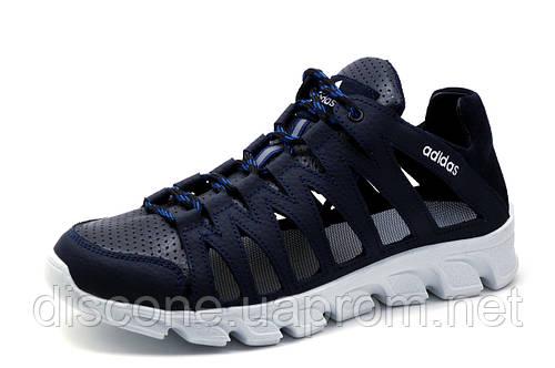 Кроссовки Adidas, натуральная кожа, мужские, темно-синие