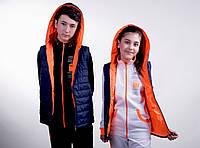Жилетка двухсторонняя турецкая плащевка оранжевый+тёмно синий (девочка, мальчик). Арт-5478/44