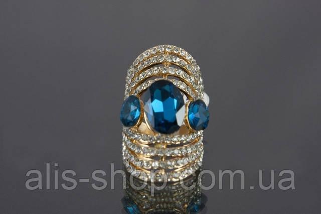 Эксклюзивное нарядное кольцо с крупным синим камнем для  неотразимых модниц 17 размер