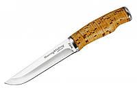 Нож для охоты Grand Way 2252, рукоять из бересты, кожанный чехол