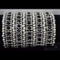 Браслет широкий, серебристый металл, черные стразы 300529