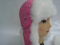 Шапка зимняя розовый мишка, фото 1
