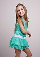 """Красивое детское платье """"Камила"""" мята в горошек"""
