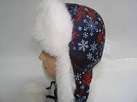 Шапка зимняя снежинка красная, фото 1