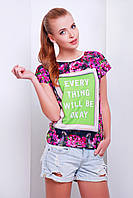 Цветочная футболка с позитивным принтом Okay р.S