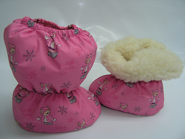 Пинетки меховые розовые мишутки