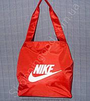 Cумка Nike 113987 красная с белой эмблемой женская спортивная на змейке размеры: 30см х 30см х 13см