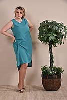 Модное летнее платье больших размеров (рр 42-74) зеленое
