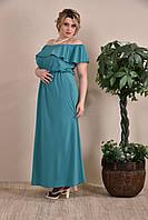 Летнее длинное платье больших размеров (рр 42-74) зеленое