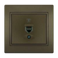 MIRA Розетка телефонна євро світло-коричневий перламутр со вставкой Lezard (701-3131-137)