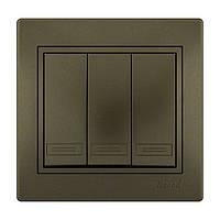 MIRA Выключатель тройной світло-коричневий перламутр со вставкой Lezard (701-3131-109)
