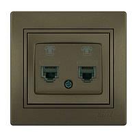 MIRA Розетка телефонна подвійна євро світло-коричневий перламутр со вставкой (10шт/120ш Lezard (701-3131-138)