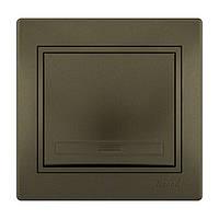 MIRA Выключатель світло-коричневий перламутр со вставкой Lezard (701-3131-100)