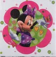Салфетки Минни Маус в розовом цветочке 10 штук