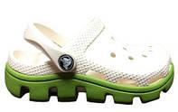 Детские Crocs Classic Cayman бело-зеленые