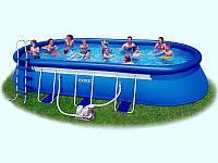 Овальный надувной бассейн Intex 28194  (610 х 366 х 122 см) + фильтрующий картриджный насос + аксессуары