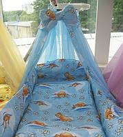 """Белье постельное детское (простынь, наволочка, пододеяльник) """" Мишки с пчелками """" синий"""