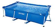 Разборный бассейн для дачи Intex 28271, прямоугольный, каркасный, 260-160-65 см, трехслойный ПВХ