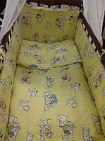 """Белье постельное детское (простынь, наволочка, пододеяльник) """" Далматинцы """" желтый"""