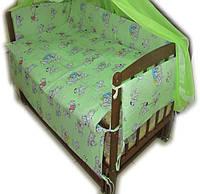 """Белье постельное детское (простынь, наволочка, пододеяльник) """" Далматинцы """" зеленый"""