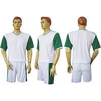 Форма футбольная Ф14 бело-зеленая СОБСТВЕННОЕ ПРОИЗВОДСТВО