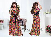 Длинное легкое летнее платье шифон в цветы на подкладке Размеры 50,52,54,56