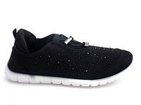 Спортивная женская обувь, кроссовки на резинке черного цвета  размеры 37-40