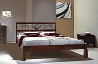 Кровать деревянная из ольхи Ретро с ковкой 1,6 м, Каштан