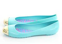 Резиновые Женские балетки, лодочки туфли  голубого цвета