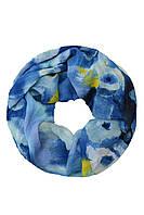 Синий снуд в крупные цветы