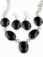 Ожерелье и серьги авантюрин темно-синий искусственный 65 см Код: 023628