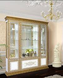 """Витрина """"Беладжио"""" Белый, золотая патина, художественная печать."""