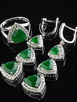 Комплект Фианит зеленый матовый триллион, длинные серьги 53х15 мм покрытие родий Код: 024790 17 р