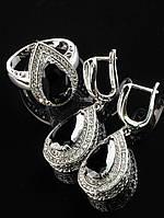 Комплект капля с черным фианитом, серьги и кольцо, покрытие родий Код: 024810 17 размер кольца