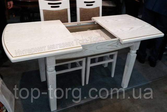 Раскладной обеденный стол Кайман белый с патиной