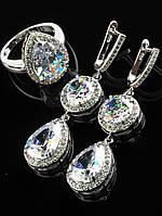 Серьги свадебные и колечко белый Фианит покрытие родий Код: 024829 19 размер кольца (ут. другие)