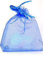 027980 Мешочек из органзы 12х9 см (маленький) подарочный новогодний, Синий, Полупрозрачный, Без рисунка
