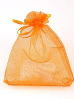 027969 Мешочек из органзы 12х9 см (маленький) подарочный новогодний, Оранжевый, Полупрозрачный, Без рисунка