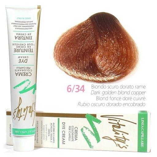 6/34 Золотисто-мідний темний блондин VITALITY'S Collection Фарба для волосся з екстрактами трав, 100 мл
