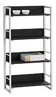 Стелаж шкаф (4 полки) цвет черный и каркас метал