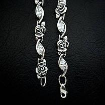 Серебряный женский браслет с розами и фианитами, 195мм, фото 3