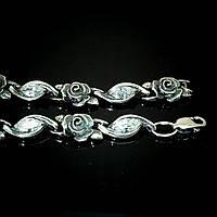 Серебряный женский браслет с розами и фианитами, 205мм