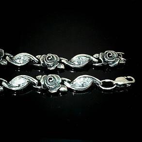 Серебряный женский браслет с розами и фианитами, 180мм, фото 2