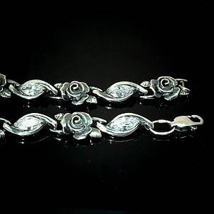 Серебряный женский браслет с розами и фианитами, 195мм, фото 2