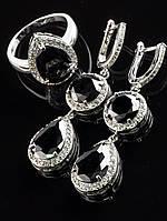 Украшения с черными фианитами. Серьги и кольцо под черное платье, Фианит, покрытие родий Код: 024827 19 р
