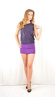 Яркое красивое стильное коктейльное платье-мини с  открытой спинкой, сиреневое.