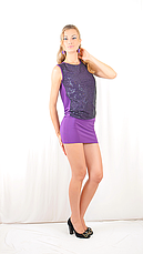 Яркое красивое стильное коктейльное платье-мини с  открытой спинкой, сиреневое., фото 2