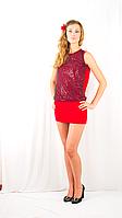 Яркое красное вечернее , клубное платье-мини с  открытой спинкой, украшенное сеткой с пайетками.