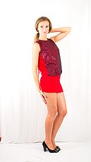 Яркое красное вечернее , клубное платье-мини с  открытой спинкой, украшенное сеткой с пайетками., фото 3